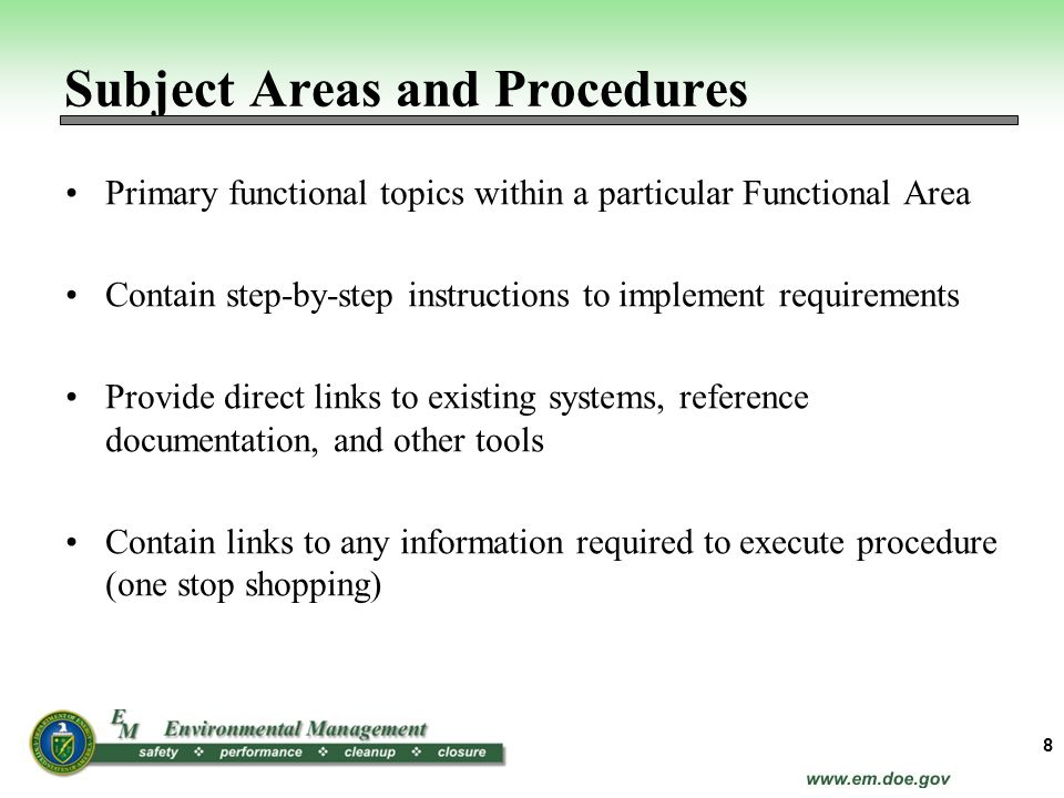 Subject Areas and Procedures