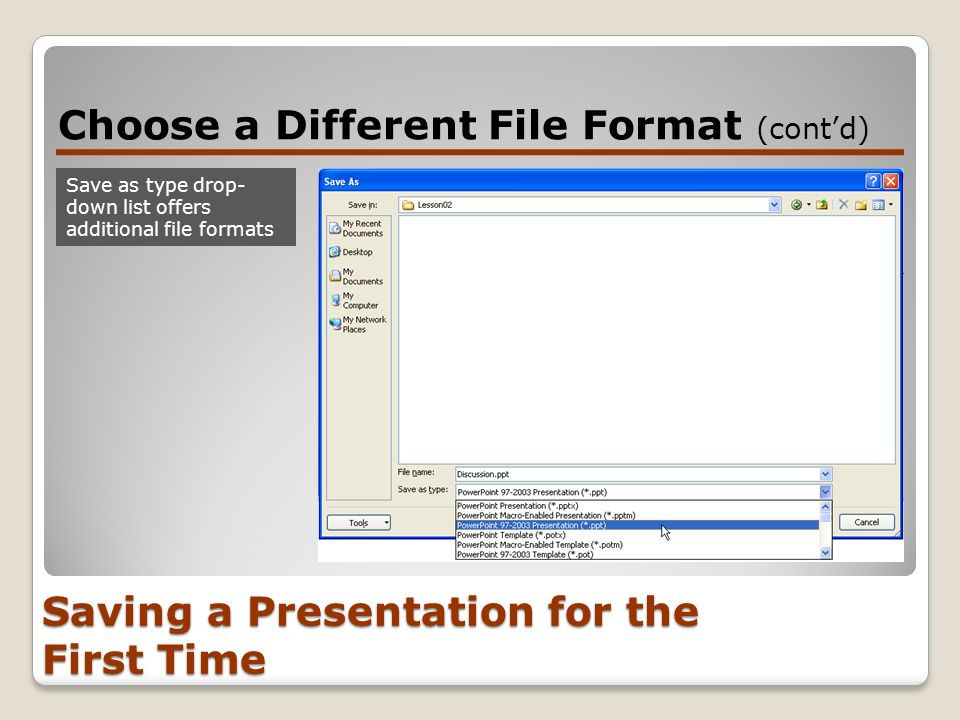 Presentation basics lesson ppt download 12 saving a presentation for the first time choose a different file format toneelgroepblik Choice Image