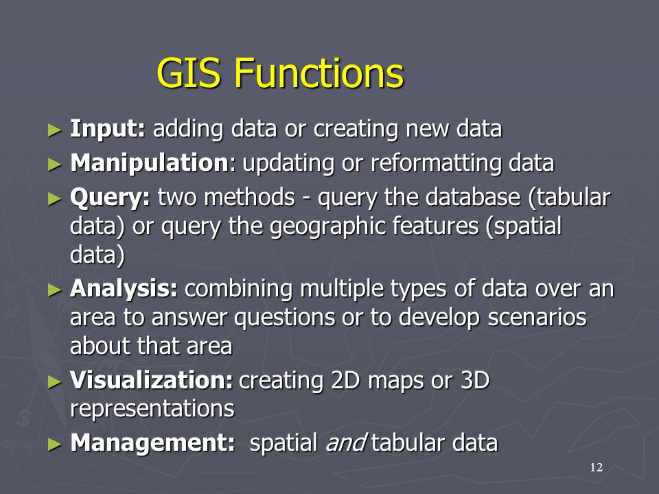GIS Functions Input: adding data or creating new data