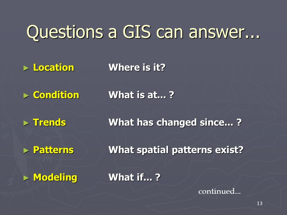 Questions a GIS can answer...