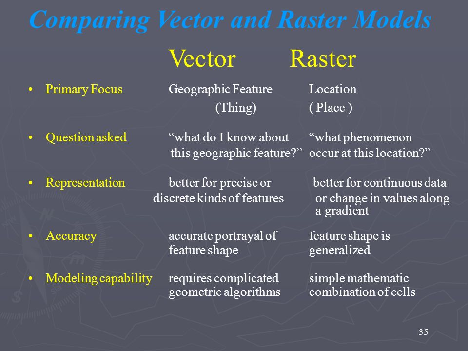 Comparing Vector and Raster Models