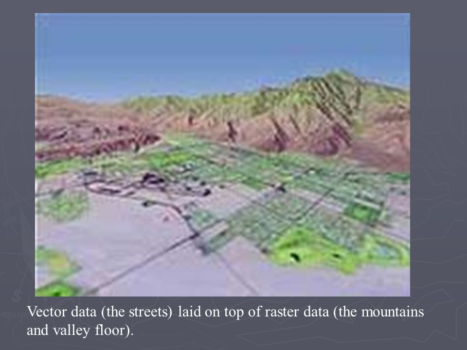Vector data (the streets) laid on top of raster data (the mountains and valley floor).