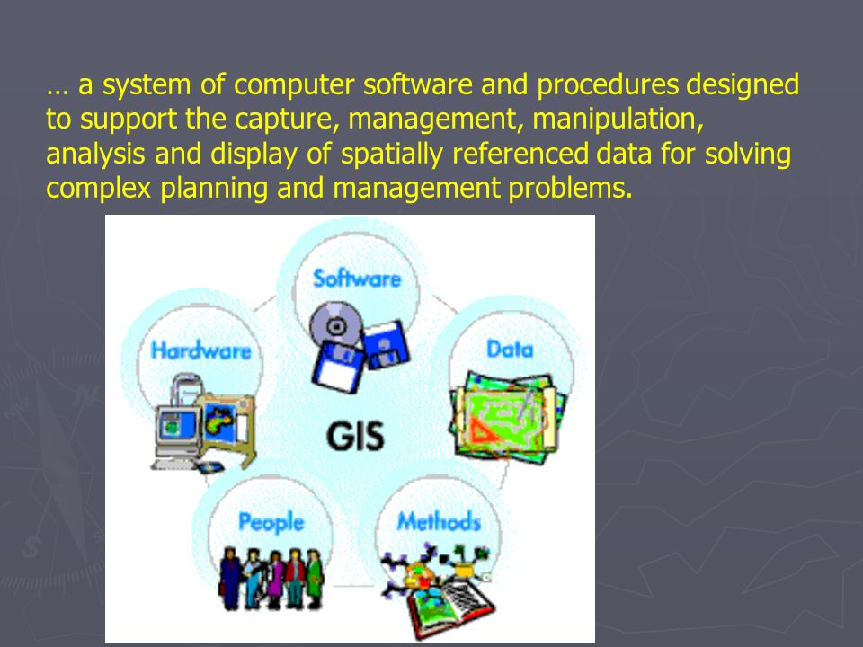 … a system of computer software and procedures designed to support the capture, management, manipulation, analysis and display of spatially referenced data for solving complex planning and management problems.
