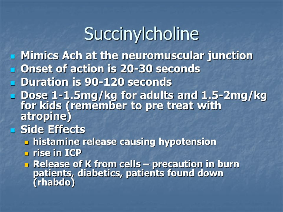 Succinylcholine Mimics Ach at the neuromuscular junction