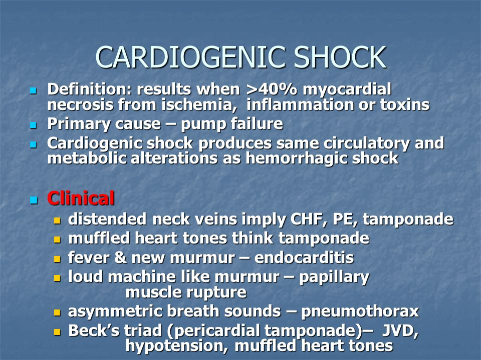 CARDIOGENIC SHOCK Clinical