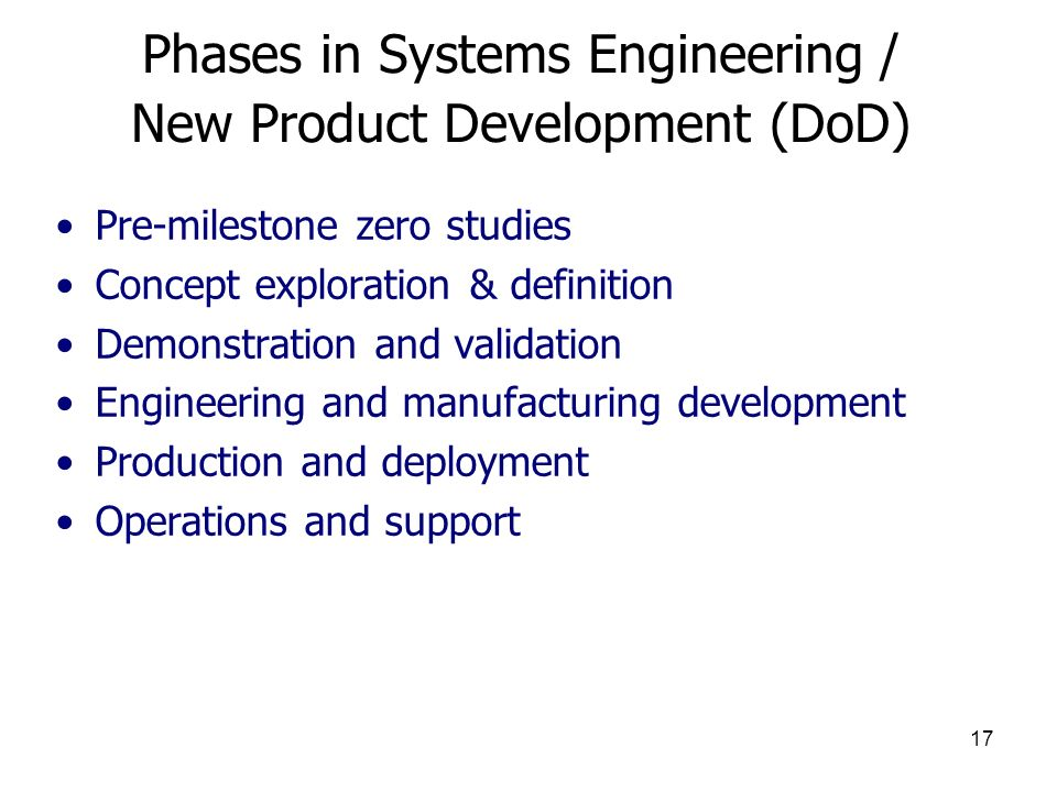 Phases in Systems Engineering / New Product Development (DoD)