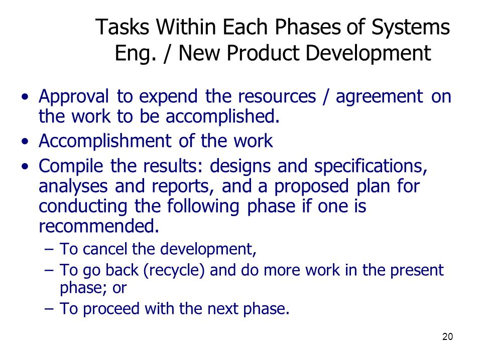 Tasks Within Each Phases of Systems Eng. / New Product Development