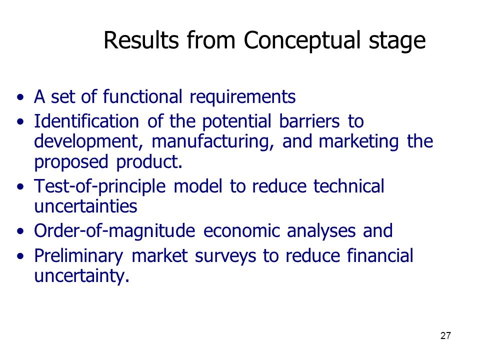 Results from Conceptual stage