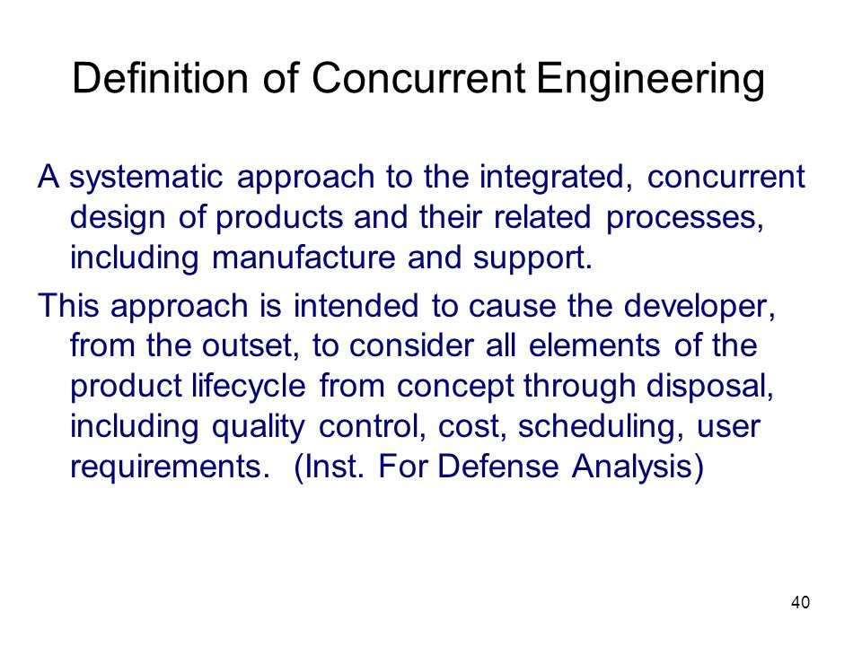 Definition of Concurrent Engineering