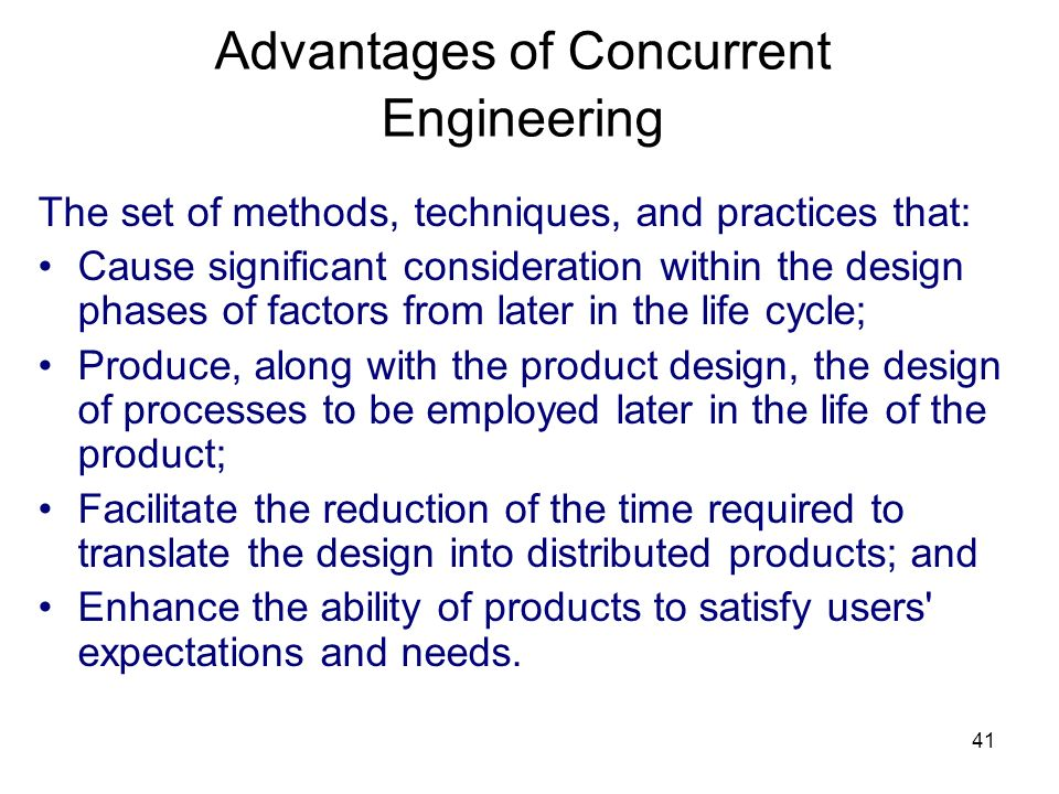Advantages of Concurrent Engineering