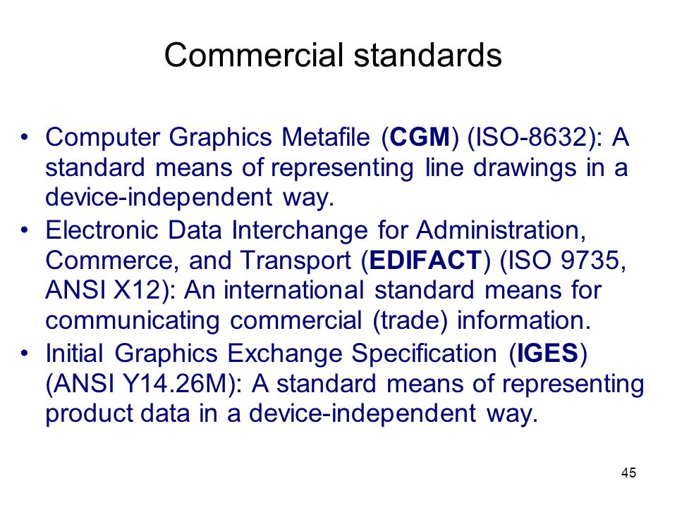 Commercial standards Computer Graphics Metafile (CGM) (ISO-8632): A standard means of representing line drawings in a device-independent way.
