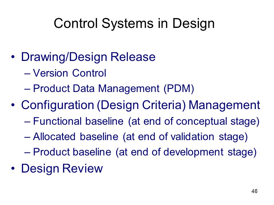 Control Systems in Design