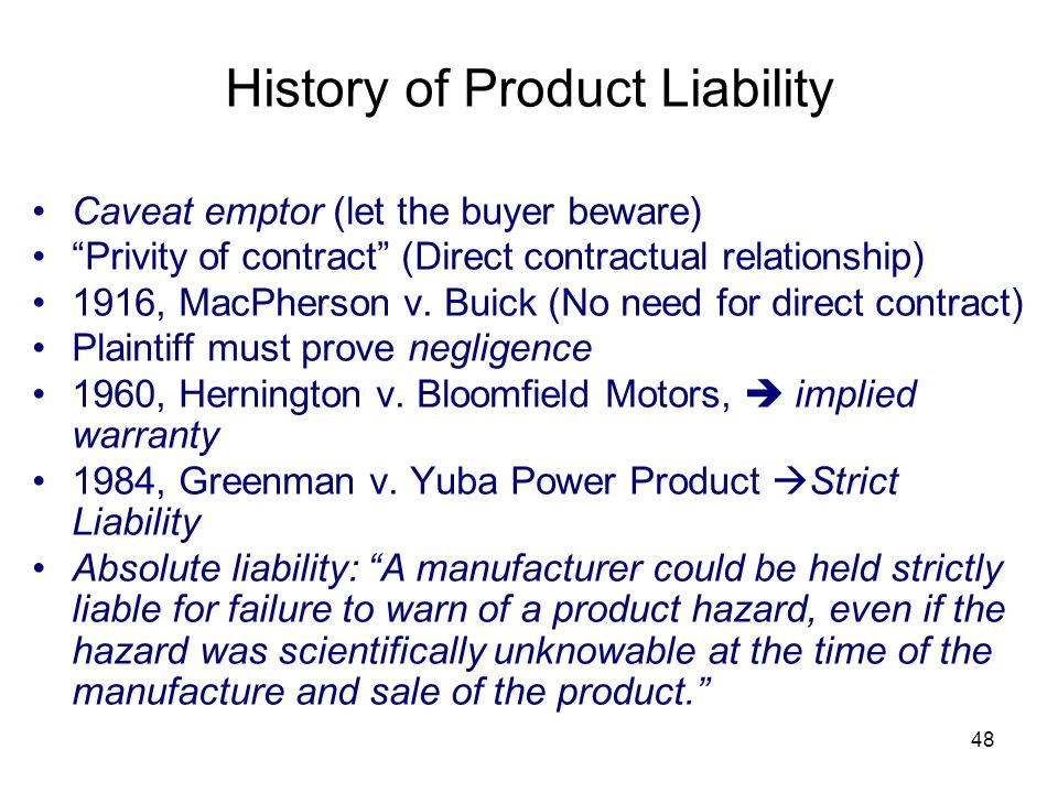 History of Product Liability