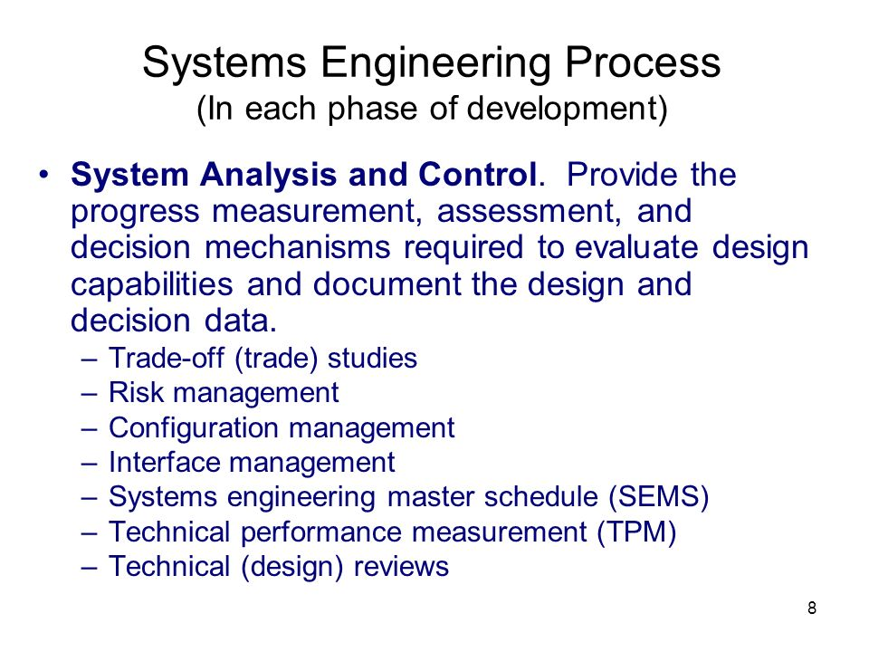 Systems Engineering Process (In each phase of development)