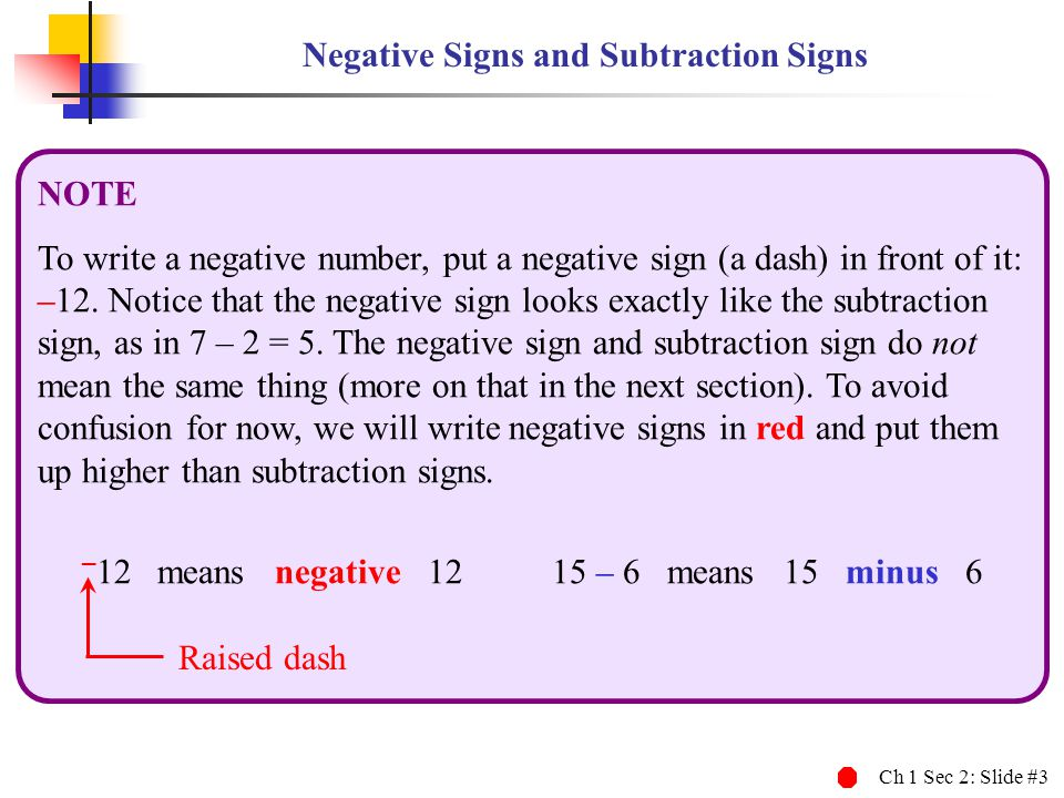 Negative Signs and Subtraction Signs