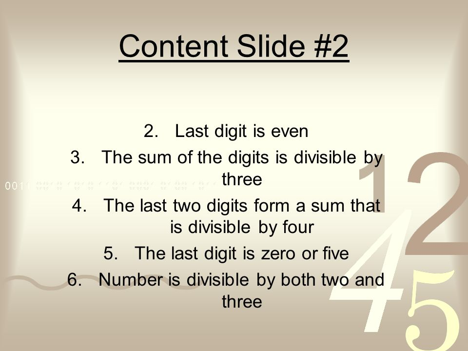Content Slide #2 Last digit is even