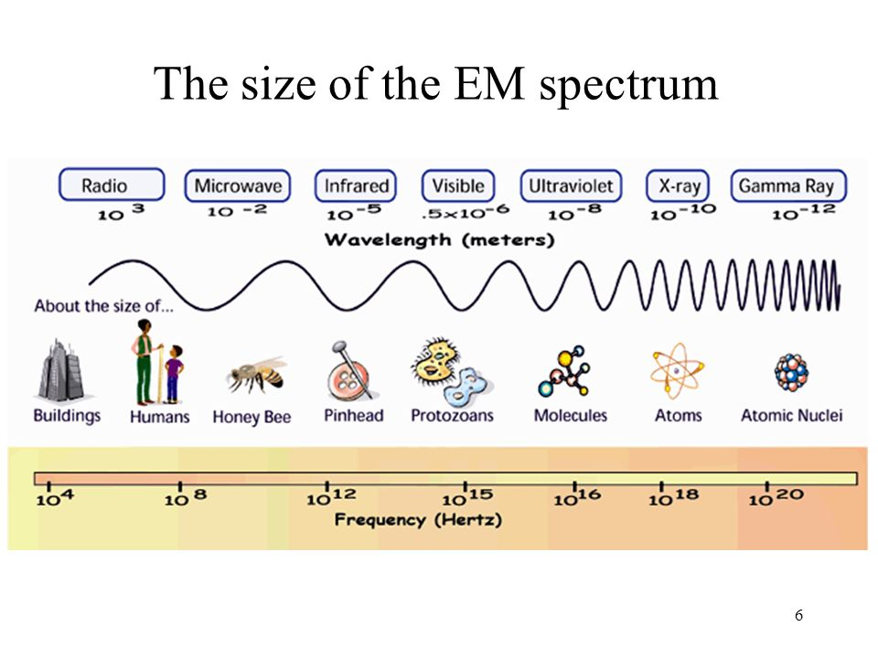 The size of the EM spectrum