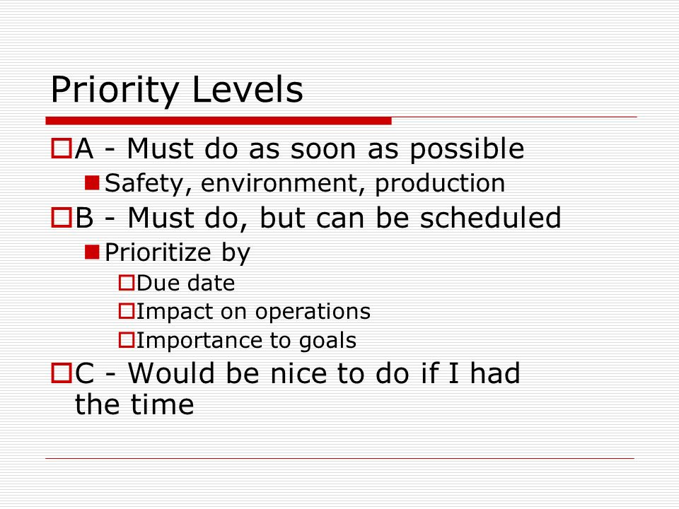 Priority Levels A - Must do as soon as possible