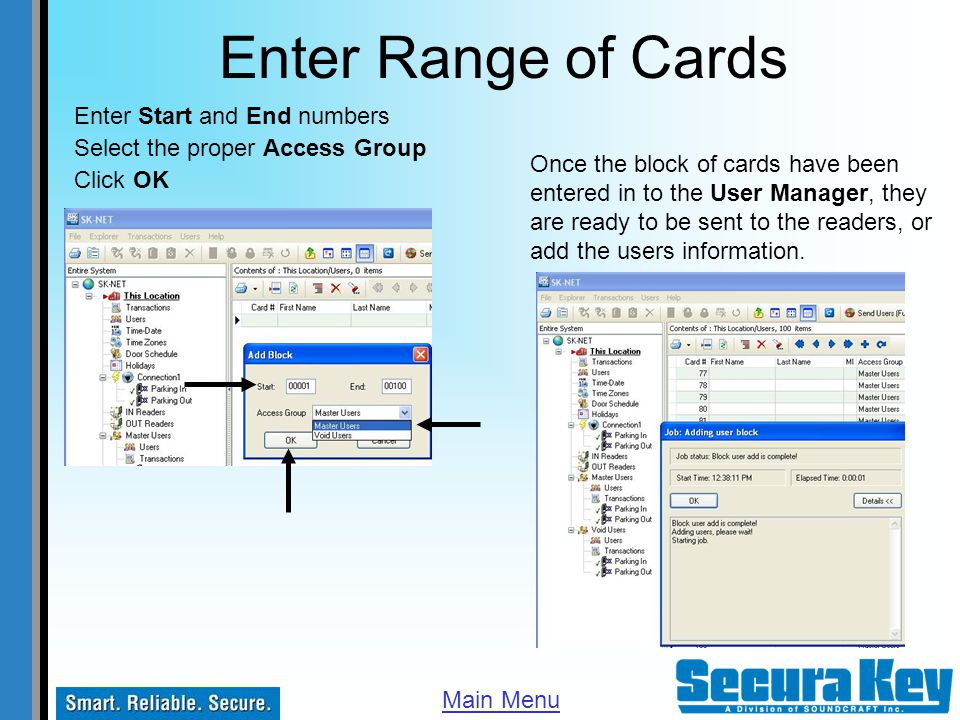 Enter Range of Cards Enter Start and End numbers