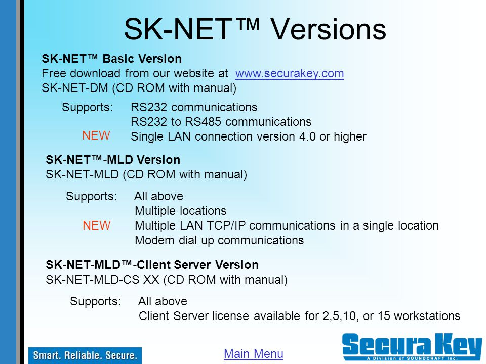 SK-NET™ Versions SK-NET™ Basic Version
