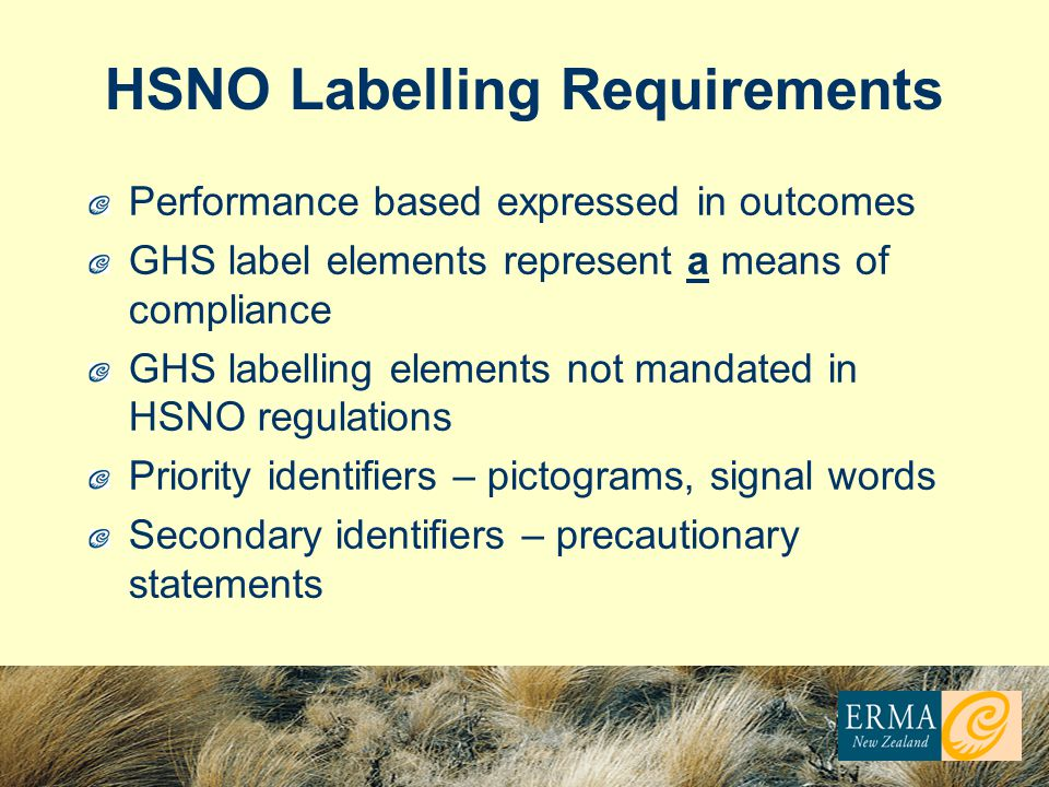 HSNO Labelling Requirements