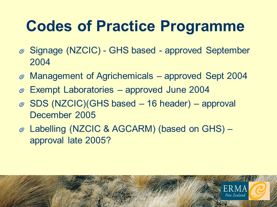 Codes of Practice Programme