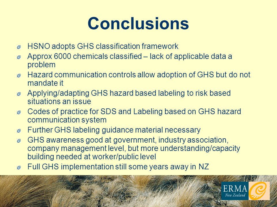 Conclusions HSNO adopts GHS classification framework