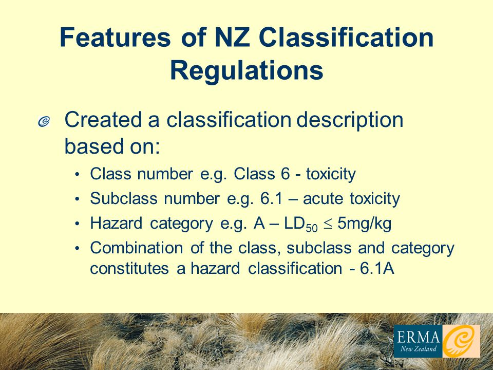 Features of NZ Classification Regulations