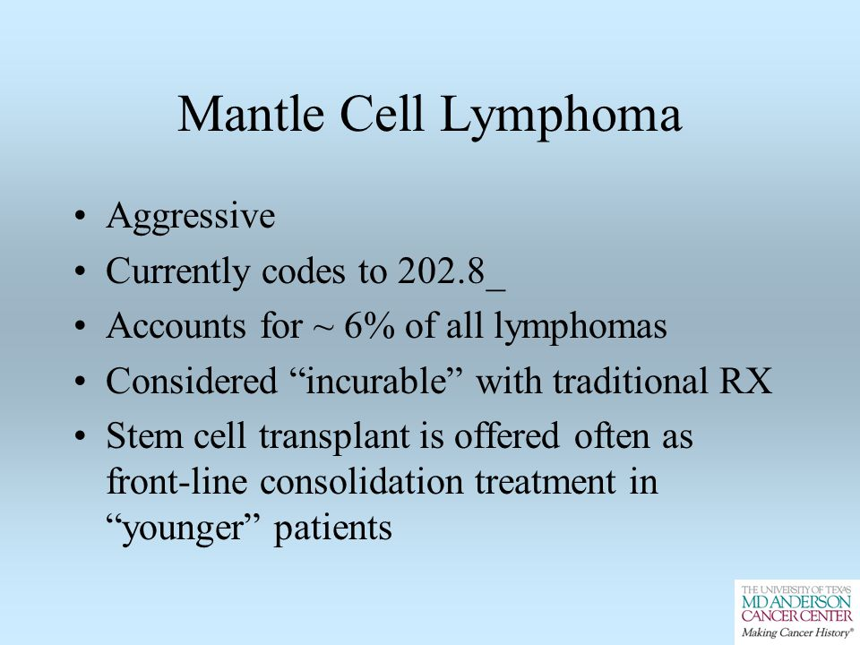 Mantle Cell Lymphoma Aggressive Currently codes to 202.8_