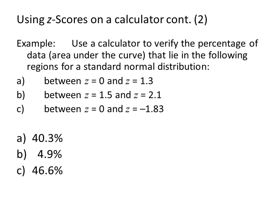 Using z-Scores on a calculator cont. (2)
