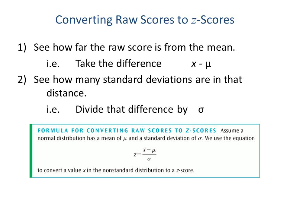 Converting Raw Scores to z-Scores