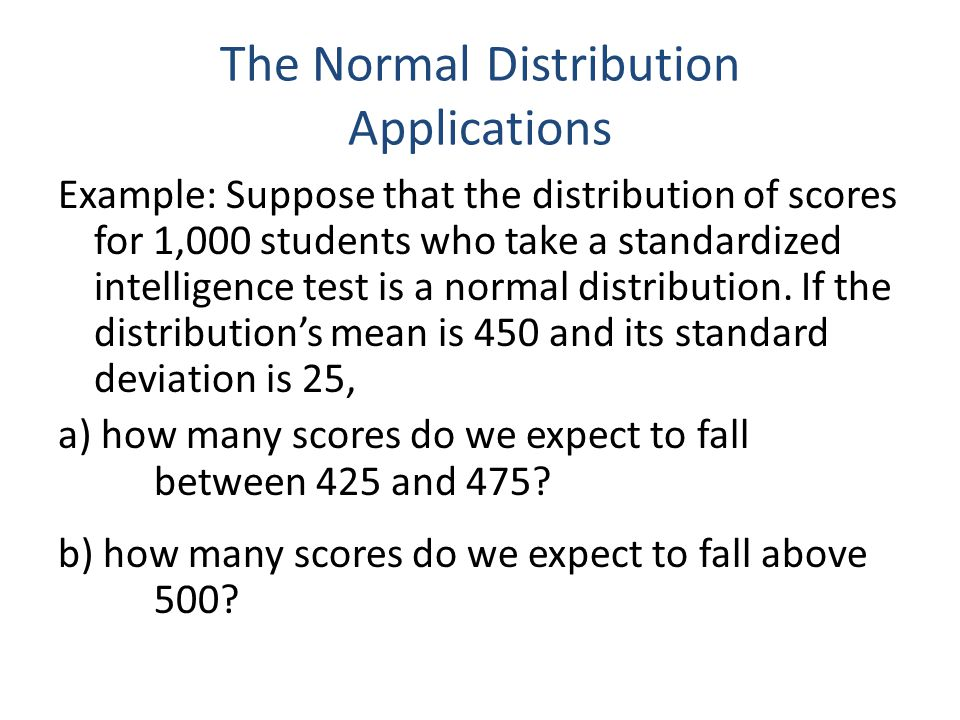 The Normal Distribution Applications