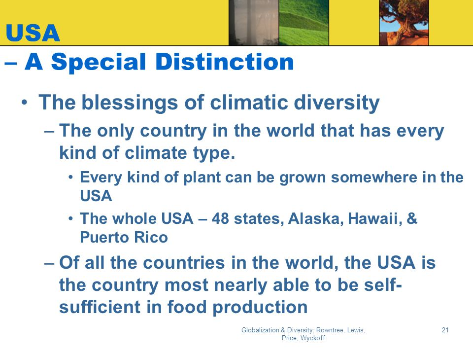 USA – A Special Distinction