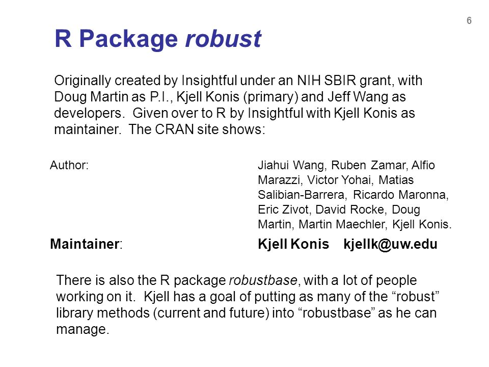 R Package robust
