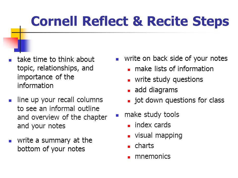 Cornell Reflect & Recite Steps