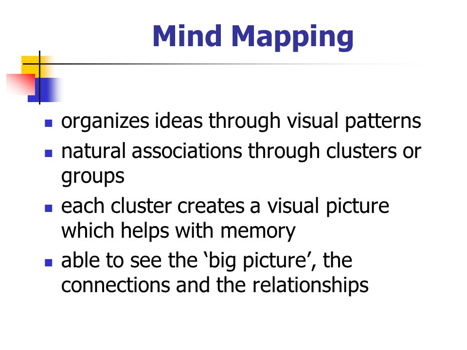 Mind Mapping organizes ideas through visual patterns
