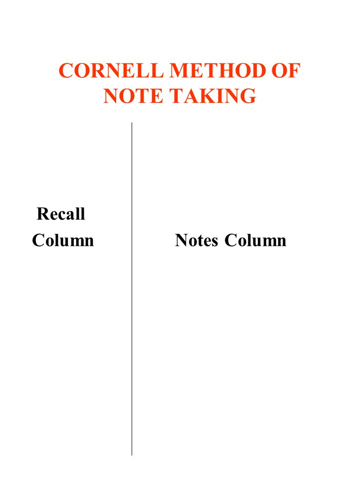 CORNELL METHOD OF NOTE TAKING