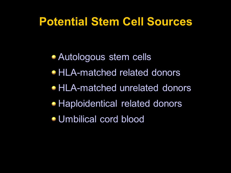 Potential Stem Cell Sources