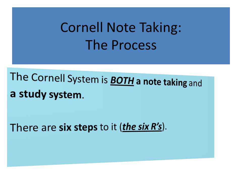 Cornell Note Taking: The Process