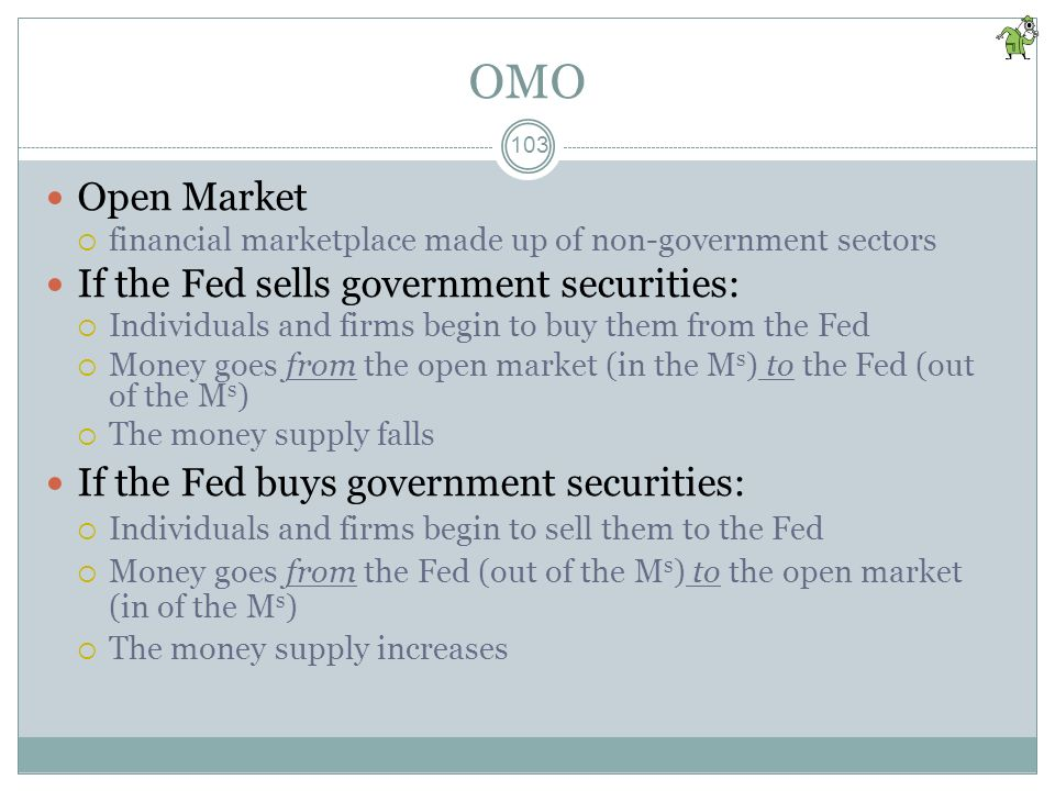 OMO Open Market If the Fed sells government securities:
