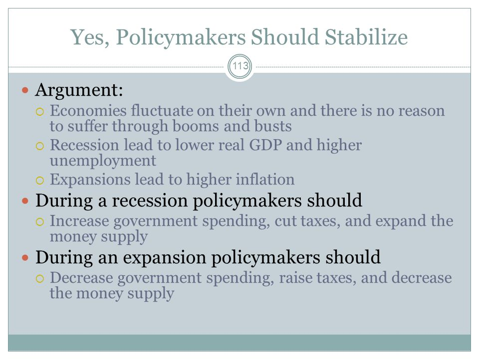 Yes, Policymakers Should Stabilize