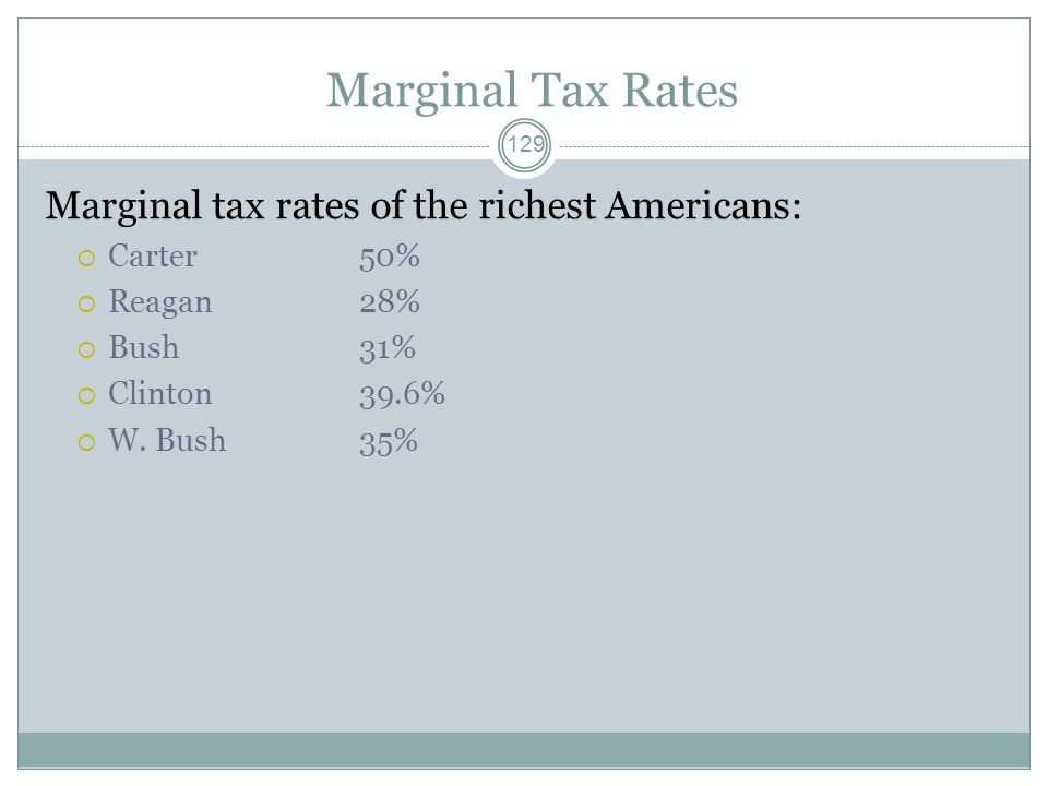 Marginal Tax Rates Marginal tax rates of the richest Americans: