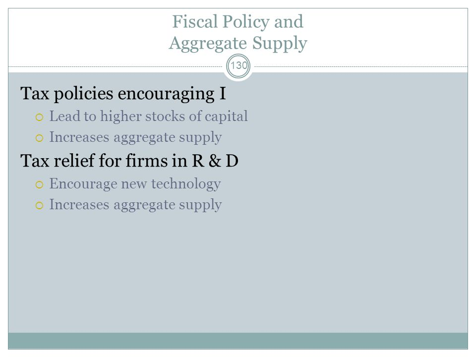 Fiscal Policy and Aggregate Supply