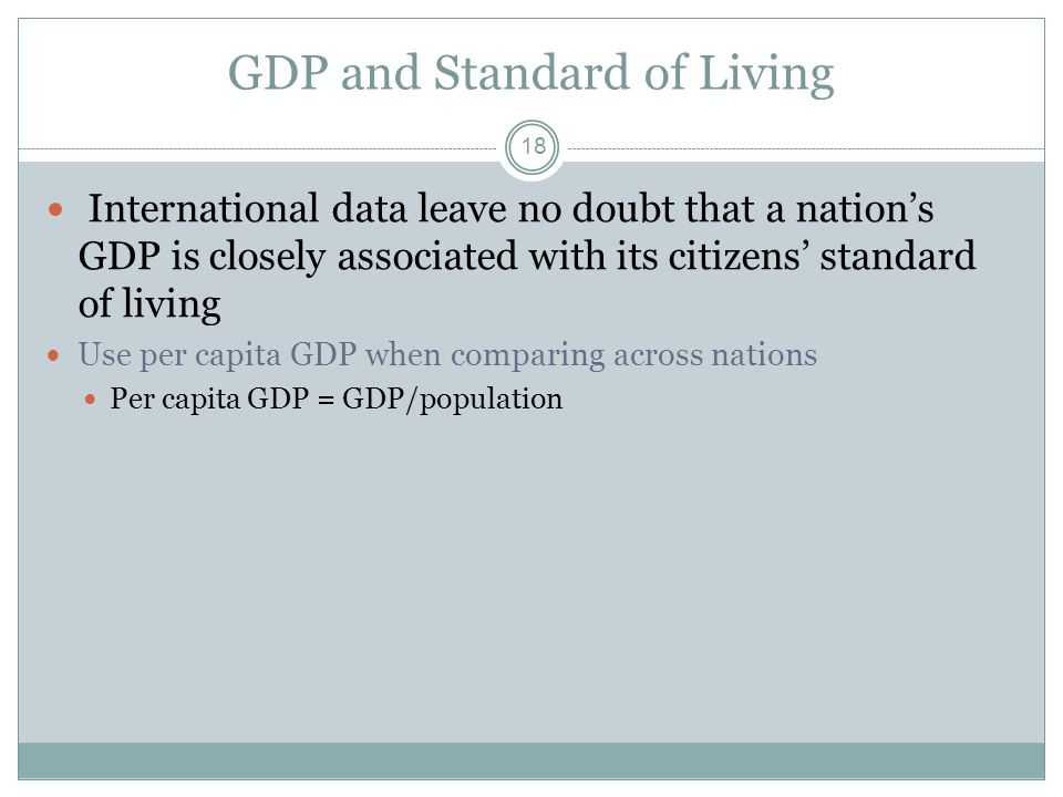 GDP and Standard of Living