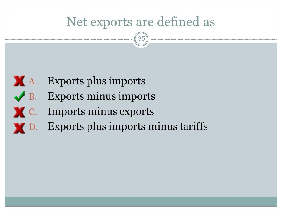 Net exports are defined as