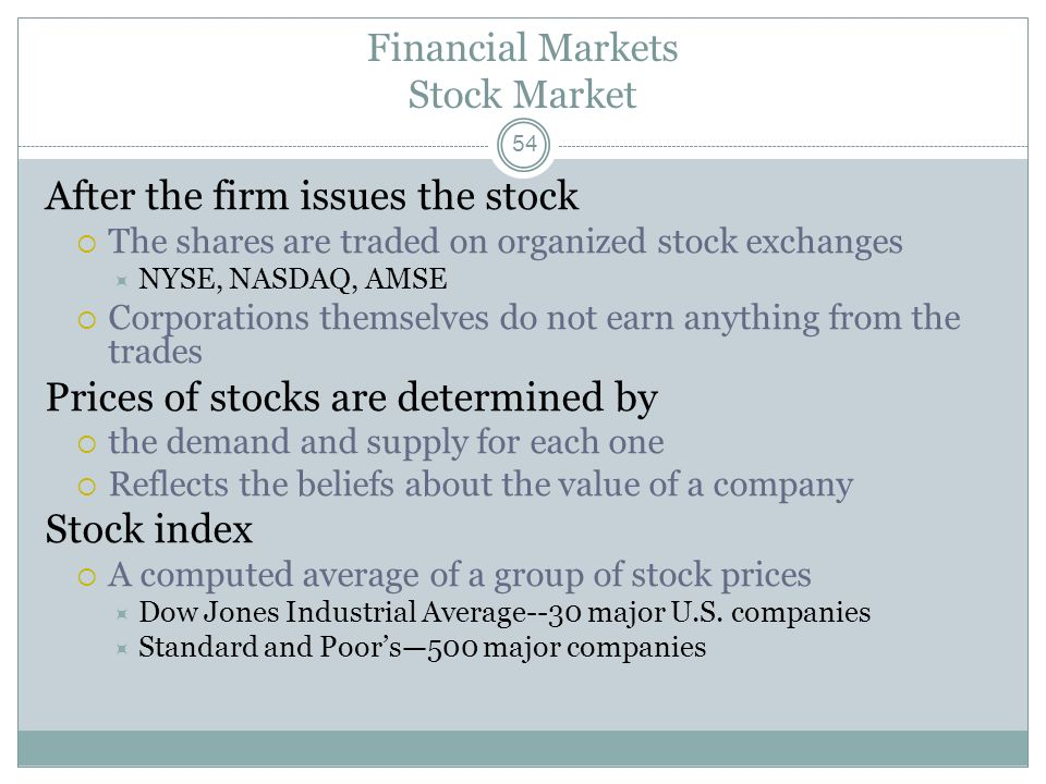 Financial Markets Stock Market