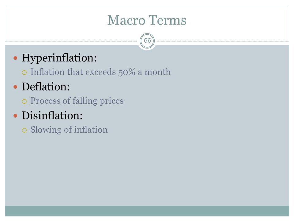 Macro Terms Hyperinflation: Deflation: Disinflation: