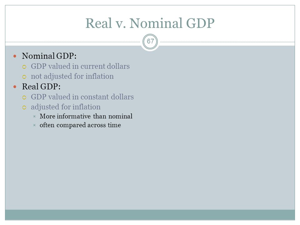 Real v. Nominal GDP Nominal GDP: Real GDP: