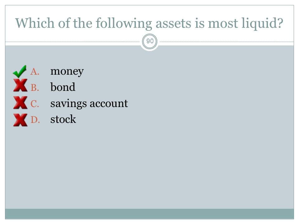 Which of the following assets is most liquid