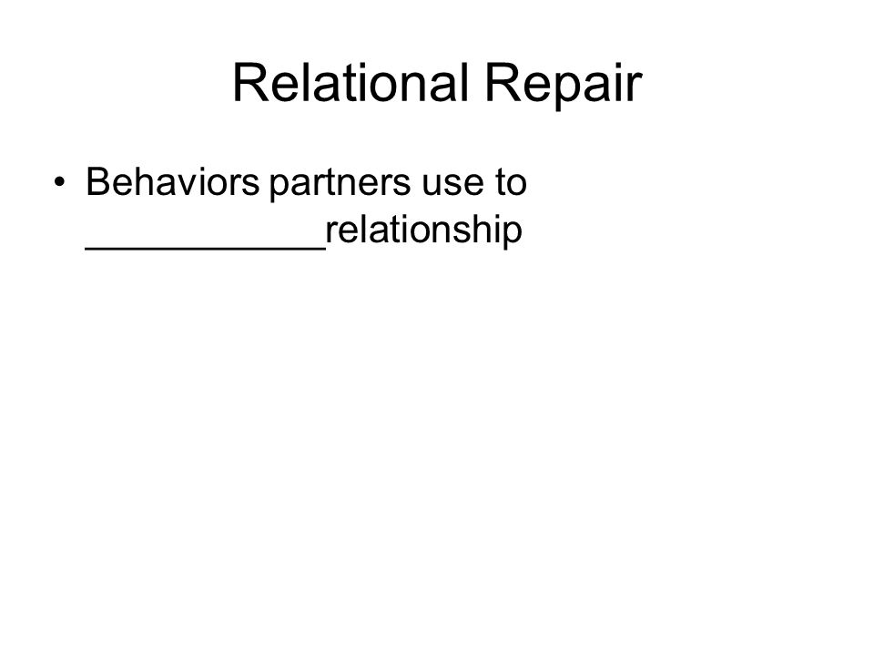 Relational Repair Behaviors partners use to ___________relationship